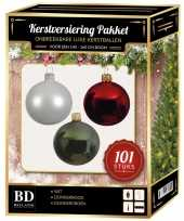 Kerstboom 101 stuks kerstballen mix wit donkergroen rood voor 150 cm boom versiering