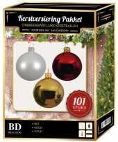 Kerstboom 101 stuks kerstballen mix wit goud rood voor 150 cm boom versiering