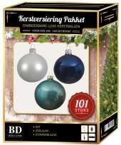 Kerstboom 101 stuks kerstballen mix wit ijsblauw blauw voor 150 cm boom versiering
