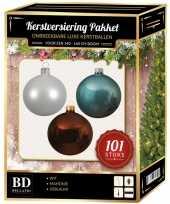 Kerstboom 101 stuks kerstballen mix wit ijsblauw bruin voor 150 cm boom versiering