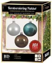 Kerstboom 101 stuks kerstballen mix wit ijsblauw kasjmier voor 150 cm boom versiering