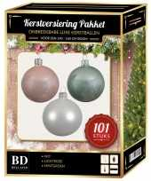 Kerstboom 101 stuks kerstballen mix wit lichtroze mint voor 150 cm boom versiering