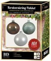 Kerstboom 101 stuks kerstballen mix wit mint bruin voor 150 cm boom versiering