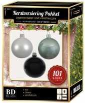 Kerstboom 101 stuks kerstballen mix wit mint zwart voor 150 cm boom versiering