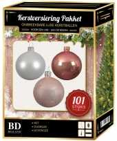 Kerstboom 101 stuks kerstballen mix wit oud roze roze voor 150 cm boom versiering