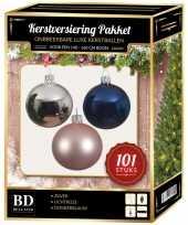 Kerstboom 101 stuks kerstballen mix zilver roze blauw voor 150 cm boom versiering