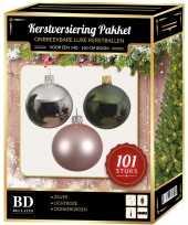 Kerstboom 101 stuks kerstballen mix zilver roze groen voor 150 cm boom versiering