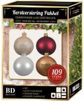 Kerstboom 109 stuks kerstballen mix wit beige donkerrood voor 150 cm boom versiering