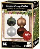 Kerstboom 109 stuks kerstballen mix wit beige groen bruin voor 150 cm boom versiering