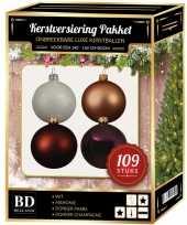 Kerstboom 109 stuks kerstballen mix wit beige paars bruin voor 150 cm boom versiering