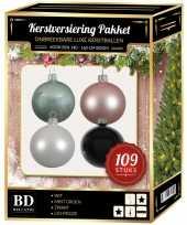 Kerstboom 109 stuks kerstballen mix wit roze mint zwart voor 150 cm boom versiering