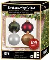 Kerstboom 109x kerstballen mix wit beige groen donkerrood voor 150 cm boom versiering