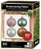 Kerstboom 109x kerstballen mix wit lichtroze mint beige voor 150 cm boom versiering