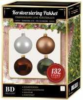 Kerstboom 132 stuks kerstballen mix beige wit groen bruin voor 180 cm boom versiering
