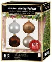 Kerstboom 132 stuks kerstballen mix wit beige bruin voor 180 cm boom versiering