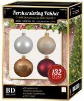 Kerstboom 132 stuks kerstballen mix wit beige donkerrood voor 180 cm boom versiering