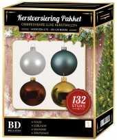 Kerstboom 132 stuks kerstballen mix wit goud blauw bruin voor 180 cm boom versiering