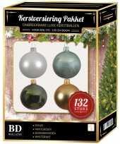 Kerstboom 132 stuks kerstballen mix wit goud groen mint voor 180 cm boom versiering