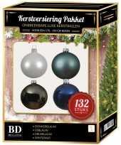 Kerstboom 132 stuks kerstballen mix wit grijs blauw voor 180 cm boom versiering