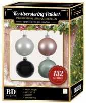 Kerstboom 132 stuks kerstballen mix wit mint roze zwart voor 180 cm boom versiering