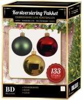 Kerstboom 133 stuks kerstballen mix goud donkergroen rood voor 180 cm boom versiering