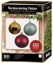 Kerstboom 133 stuks kerstballen mix goud donkerrood mint voor 180 cm boom versiering