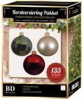 Kerstboom 133 stuks kerstballen mix parel donkergroen rood voor 180cm boom versiering