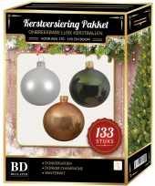 Kerstboom 133 stuks kerstballen mix wit beige donkergroen voor 180 cm boom versiering