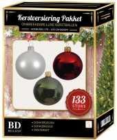 Kerstboom 133 stuks kerstballen mix wit donkerrood groen voor 180 cm boom versiering