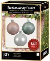 Kerstboom 133 stuks kerstballen mix wit mintgroen roze voor 180 cm boom versiering