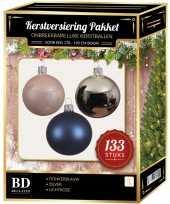 Kerstboom 133 stuks kerstballen mix zilver blauw roze voor 180 cm boom versiering