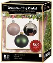Kerstboom 133 stuks kerstballen mix zilver groen roze voor 180 cm boom versiering