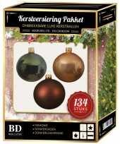 Kerstboom 134 stuks kerstballen mix beige bruin donkergroen voor 180 cm bo versiering