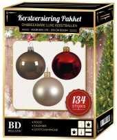 Kerstboom 134 stuks kerstballen mix champagne groen bruin voor 180 cm boom versiering 10163830
