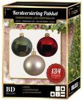 Kerstboom 134 stuks kerstballen mix champagne groen rood voor 180 cm boom versiering