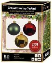 Kerstboom 134 stuks kerstballen mix goud groen rood voor 180 cm boom versiering