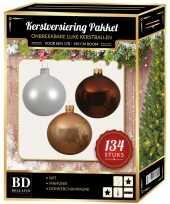 Kerstboom 134 stuks kerstballen mix wit beige bruin voor 180 cm boom versiering