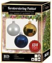 Kerstboom 134 stuks kerstballen mix wit goud donkerblauw voor 180 cm boom versiering