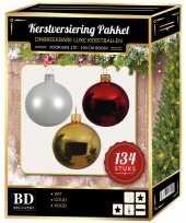 Kerstboom 134 stuks kerstballen mix wit goud rood voor 180 cm boom versiering