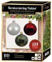 Kerstboom 134 stuks kerstballen mix wit groen donkerrood voor 180 cm boom versiering