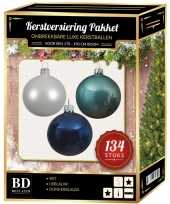 Kerstboom 134 stuks kerstballen mix wit ijsblauw blauw voor 180 cm boom versiering