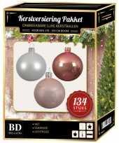 Kerstboom 134 stuks kerstballen mix wit oud roze roze voor 180 cm boom versiering