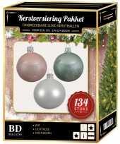 Kerstboom 134 stuks kerstballen mix wit roze mint voor 180 cm boom versiering