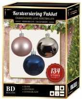 Kerstboom 134 stuks kerstballen mix zilver roze blauw voor 180 cm boom versiering