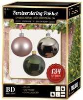 Kerstboom 134 stuks kerstballen mix zilver roze groen voor 180 cm boom versiering