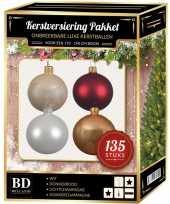 Kerstboom 135 stuks kerstballen mix beige wit donkerrood voor 180 cm boom versiering