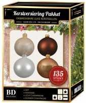 Kerstboom 135 stuks kerstballen mix champagne wit bruin voor 180 cm boom versiering