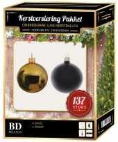 Kerstboom 137 stuks kerstballen mix goud zwart voor 180 cm boom versiering
