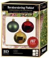 Kerstboom 147 stuks kerstballen mix goud groen rood voor 180 cm boom versiering