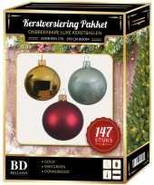 Kerstboom 147 stuks kerstballen mix goud mintgroen donkerrood voor 180 cm versiering